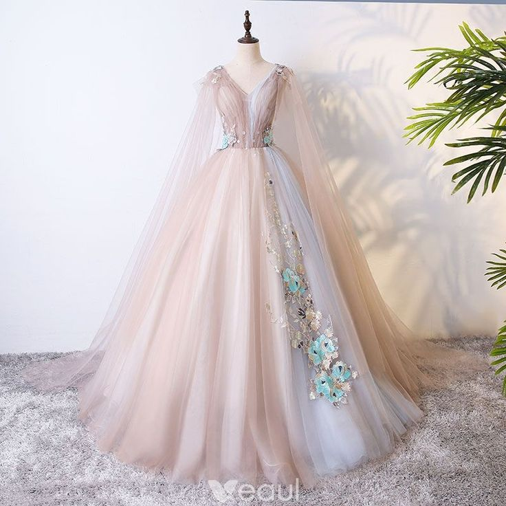 Chic / Beautiful Champagne Prom Dresses 2017 Ball Gown Lace Flower Pearl Artificial Flowers V-Neck Backless Short Sleeve Floor-Length / Long Formal Dresses