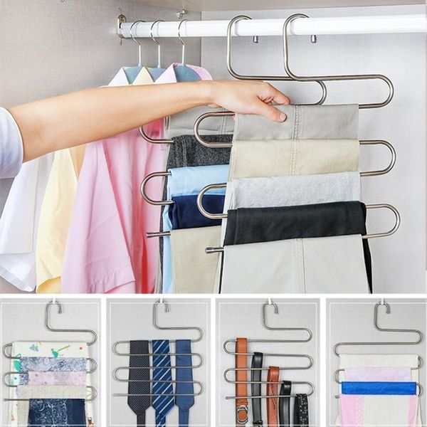 5 Layers S Shape Multifunctional Clothes Hangers Pants Storage Hangers Cloth Rack Multilayer Storage Cloth Hanger Wish In 2020 Clothing Rack Pant Storage Clothes Hanger
