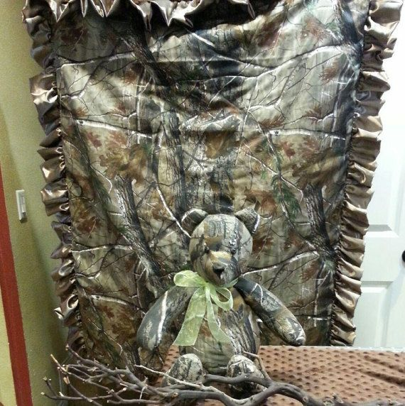 Real tree camouflage baby blanket  Etsy listing at https://www.etsy.com/listing/226897904/real-tree-camouflage-minky-blanket