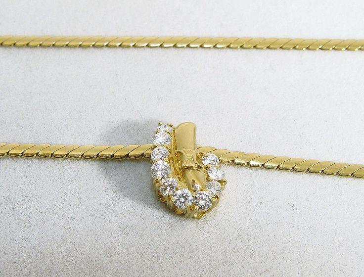 "18K Yellow Gold Modern 16"" Omega Chain w/10 Diamond 0.63TDW Pendant #Celine #PendantChain"