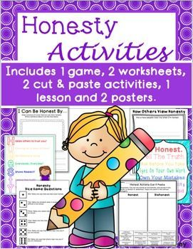 This resource includes 1 lesson plan, 2 worksheets, 1 game, 2 cut & paste activities and 2 posters (BW and color) that cover the theme of honesty. Students will learn what honesty means, why it is important and how they can be honest. A good resource for readers and non-readers.