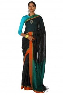 Makhmal Handwoven Black Soft Cotton Saree By Ron Dutta  Rs. 2,875