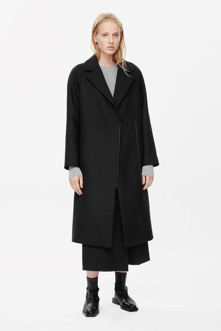 Zip detail wool coat