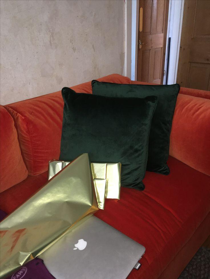 ORIGINAL: HAY hackney sofa, kvadrat burnt orange velvet fabric sample, 3 seater, comfy, dark green velvet, 1940s red and green, macbook, sofa, home decor, interior design, personal home, brassy notes