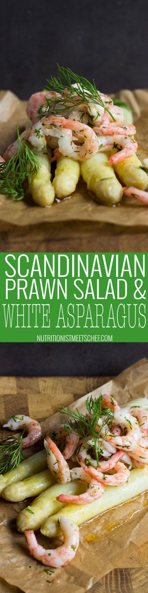 Scandinavian Prawn Salad on White Asparagus. A tasty and delicious dish that takes about 20 minutes to make! Serve as a starter or as a light brunch!