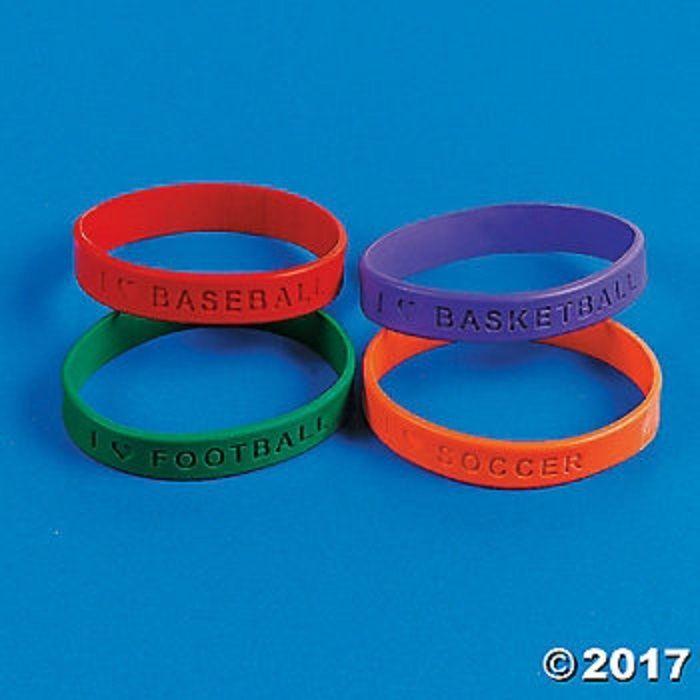 24 Sports Theme Sayings Rubber Bracelets Birthday Party Favors #FunExpress #Birthday