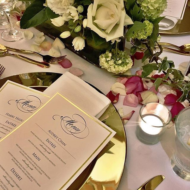 Add some elegance to your wedding table setting with beautiful foil print menu cards custom designed by Inspired Design Preston Melbourne #menucards #weddingmenus #weddinginvitations #weddingstationery #foilprint #foilinvitations #inspireddesignpreston  #Regram via @inspireddesigninvites