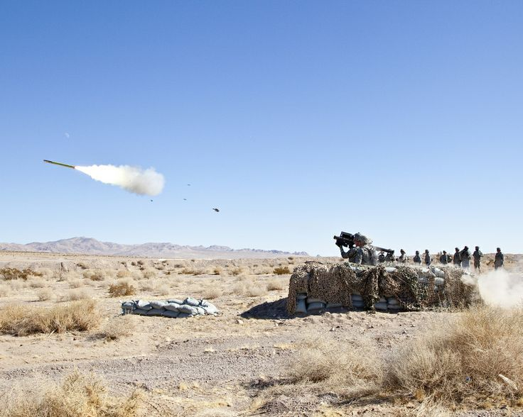 Pfc. Cory Miller, I Battery, 1st Squadron, 11th Armored Cavalry Regiment, fires the FIM-92 Stinger missile at the MQM-170 Outlaw drone plane. The FIM-92 Stinger is a personal portable infrared homing surface-to-air missile. U.S. Army photo by Casey Slusser. #military
