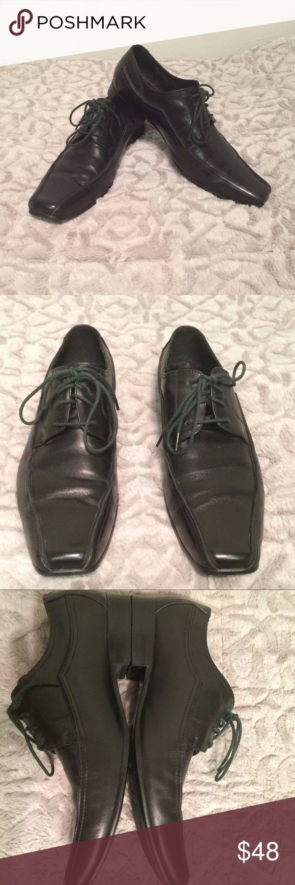 Jones Bootmaker Black Derby Dress Shoes *A classic (and rare) pair of shoes from a UK-based footwear company (founded in the 1850s). *Black with black laces (the laces are slightly discolored-see pics- and could be replaced easily) *Combining comfort with style, Derby leather shoes work well with day suits, trousers or even denim. *GUC-a few minor scuffs on the exterior (could probably be buffed out and minimal wear on the soles).  *Made from leather with a rubber sole.  *Reach out with any…