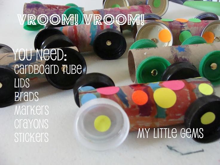 My Little Gems: Cardboard Tube Cars {preschool transportation week}