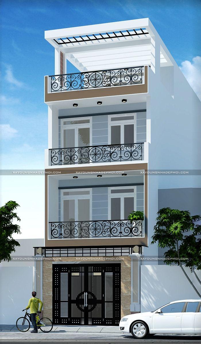 Mẫu thiết kế nhà ống 4 tầng 5x16 m2, 6 phòng ngủ, 4 nhà vệ sinh thiện nghi cho gia đình 7 thành viên, kiến trúc hiện đại tạo thẩm mỹ cân đối cho công trình.