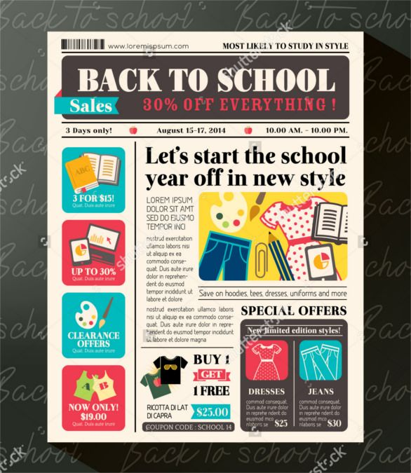 9 best newspaper design images on pinterest newspaper design back to school sales promotional design template in newspaper journal style buy this stock vector on shutterstock find other images fandeluxe Image collections
