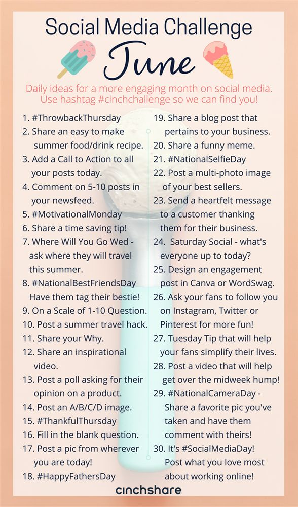 Download our FREE June Social Media Challenge so you can plan ahead, be consistent and have great engagement all month long! Be sure to share with your teams and use the hashtag #cinchchallenge so we can find you!