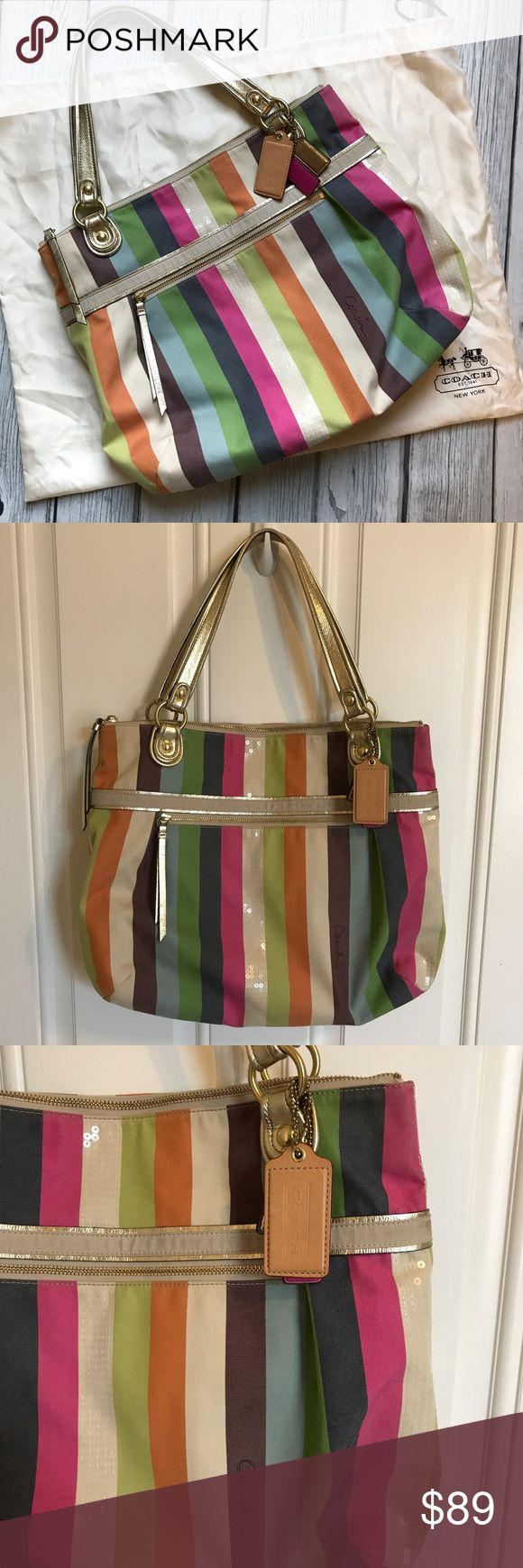 Coach Poppy Legacy Glam Coach Poppy Legacy Striped Galm tote. Perfect condition. Coach Bags Shoulder Bags