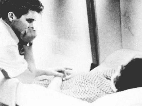 "satnin: "" Elvis holding the hand of his late mother, Gladys Love Presley, August 15th 1958. "" Gladys' funeral was held at 3:30pm. Elvis sobbed hysterically while Gladys' favorite gospel group, the..."