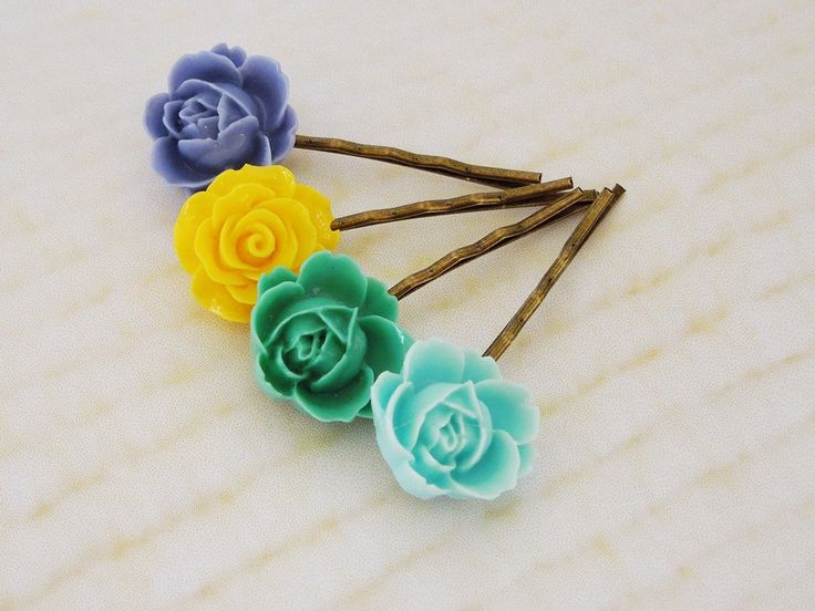 Flower bobby pins green blue yellow by TwinkleShineKnits
