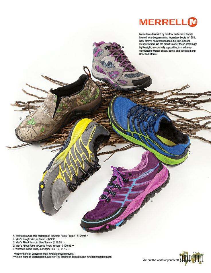 There is something for everyone when it comes to Merrell shoes. Men's, Women's, running, minimal, and even camo! www.shoemill.com/merrell