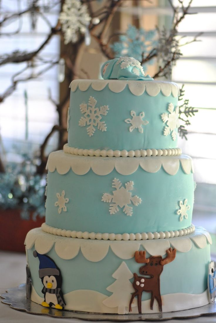 Baby Winter Animals: Winter Wonderland Themed Baby Shower: Baby Shower Cake