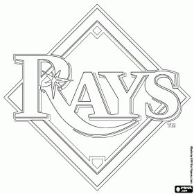 Tampa Bay Rays logo, baseball team from the American League East Division, Saint Petersburg, Florida coloring page