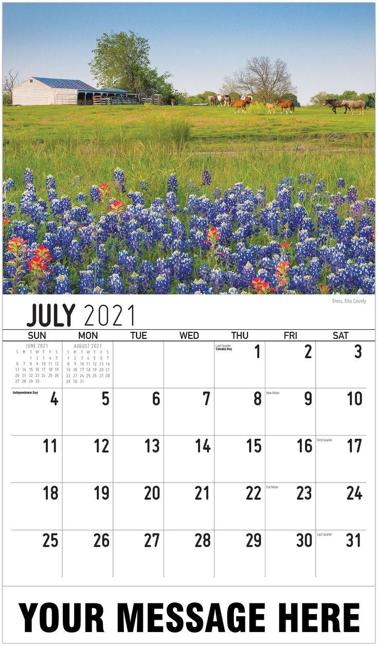 Scenic Texas Calendar July 2021 in 2020 Ellis county