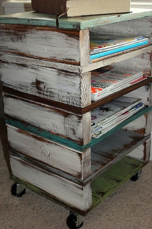 Stack mini pallets up, put some casters on it and you've got a nice little cart with lots of shelves.