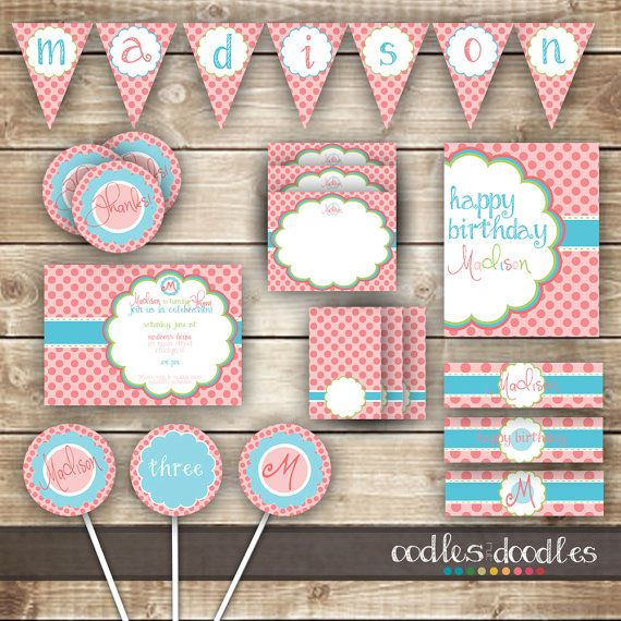 Pink and Turquoise Girl's Birthday Party | Party Printables by Oodles and Doodles | OandD.etsy.com | Oodles and Doodles.com