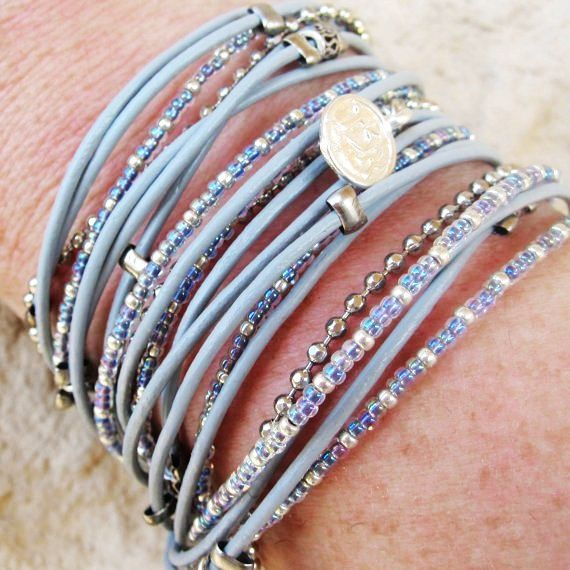 Boho Chic Gray Leather Triple Wrap Bracelet with Gray Iridescent Miyuki Beads