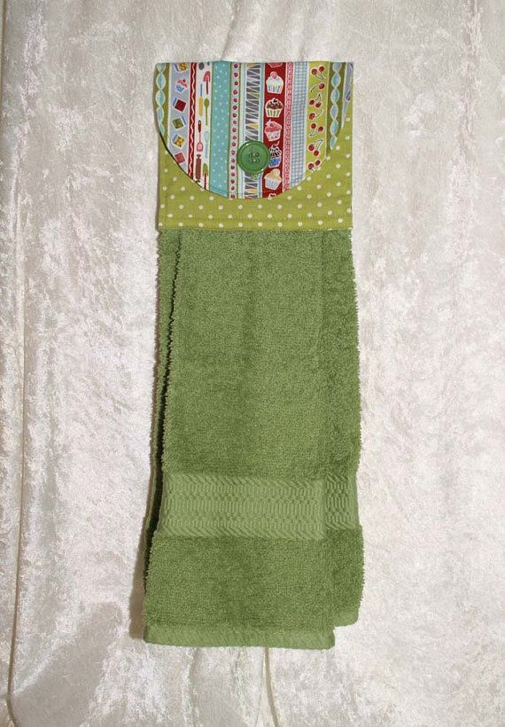 Hanging Kitchen Towel • Hanging Tea Towel • Green Bath Towel • Retro Pyrex • Vintage Baking Tools • Cupcakes • Green • Stripes • Cherries