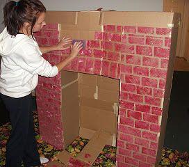 The Domestic Barbie | Cardboard fireplace
