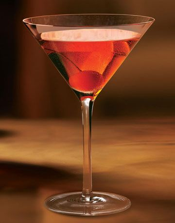 Chambord Manhattan  2 oz. bourbon   1 oz. Chambord   Dash of bitters     Shake ingredients with ice and strain into a martini glass. Garnish with a cherry.