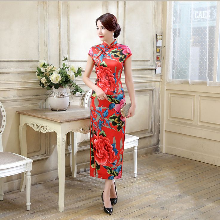 Chinese Traditional Dress Long Cheongsam Silk Qipao Dresses Robe Chinoise Vestido Oriental Style Qi Pao Vintage Wedding Red