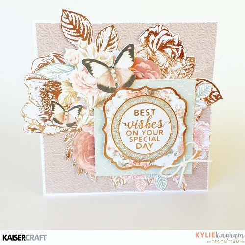 'Rose Bouquet' Card by Kylie Kingham Design Team member for Kaisercraft Official Blog Group Post Featuring PS488 Gold Foil Paper from the New May 2017 collection 'Sage and Grace.' Learn more at kaisercraft.com.au/blog ~ Wendy Schultz ~ Cards 1.