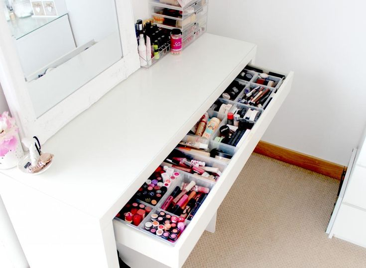 Ikea Malm Dressing Table Makeup And Beauty Storage Ideas Makeup Storage Inspiration Muji