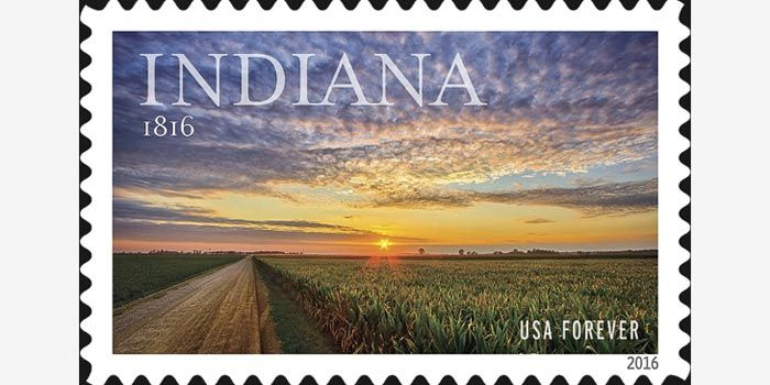 The official Indiana Bicentennial stamp for 2016.