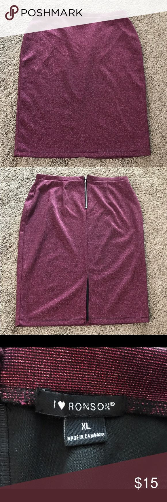 Purple Glitter Pencil Skirt Purple pencil skirt with a lot of glitter! There's a zipper and a slit in the back. Worn once, in excellent condition. No trades. Comment with questions :) I ♥️ Ronson Skirts Pencil