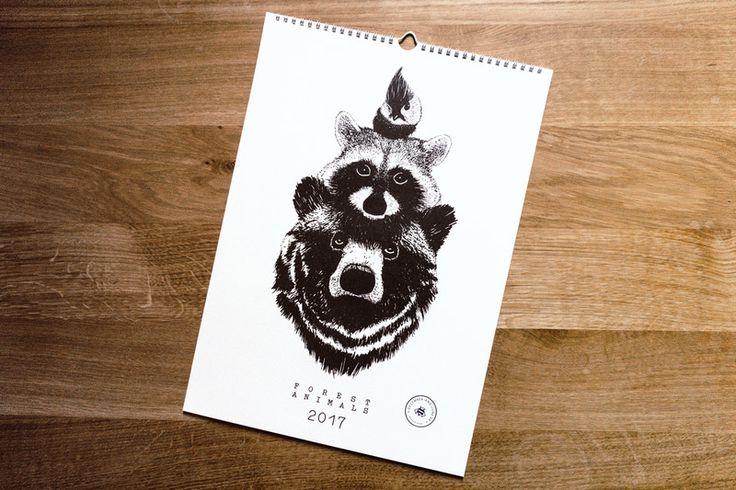 "Wandkalender - Wandkalender ""Forest Animals 2017"" A3 - ein Designerstück von december-and-june bei DaWanda"