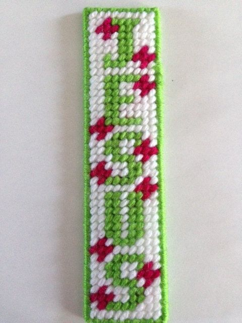Green, Pink and White Flower Jesus Christian Bookmark