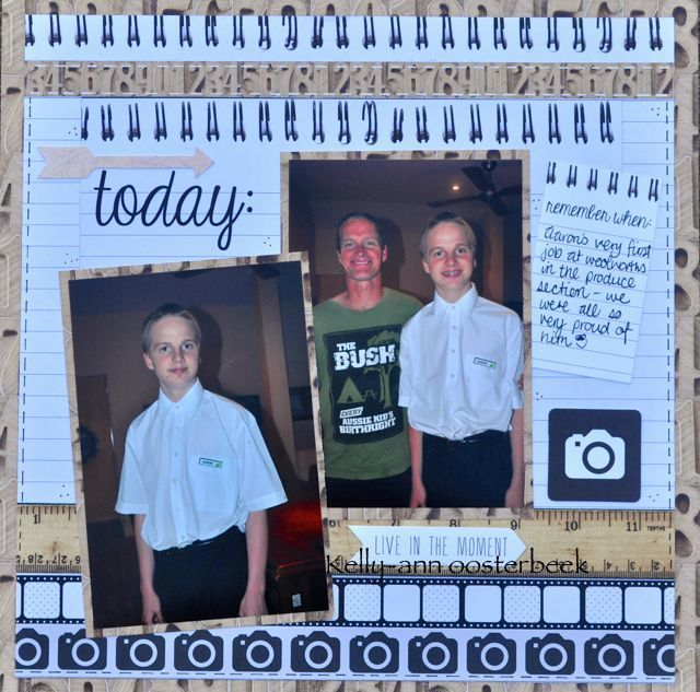 A layout by Kelly-ann Oosterbeek, made using the Hello Today Collection from Kaisercraft. www.amothersart.com.au