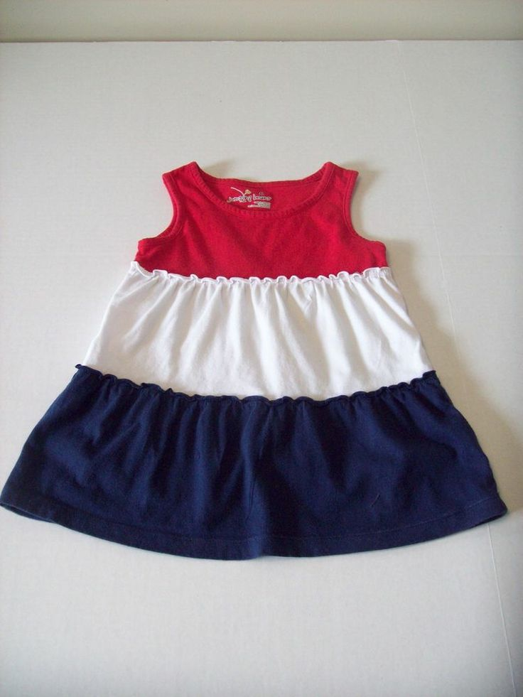 Girl Dress Americana Red White Blue Ruffled Layers Jumping