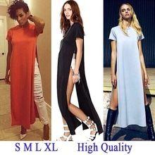 Hot 2015 Women Shirt Dresses High Open Side Split Party Long Tee T Shirt Tshirt feminine Summer Maxi Casual Dress Club Outfit(China (Mainland))