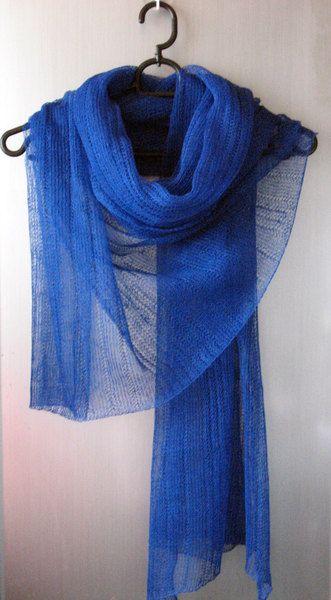 Blau LeinenSchal Verpackungs-Stola  von Initasworks auf DaWanda.com