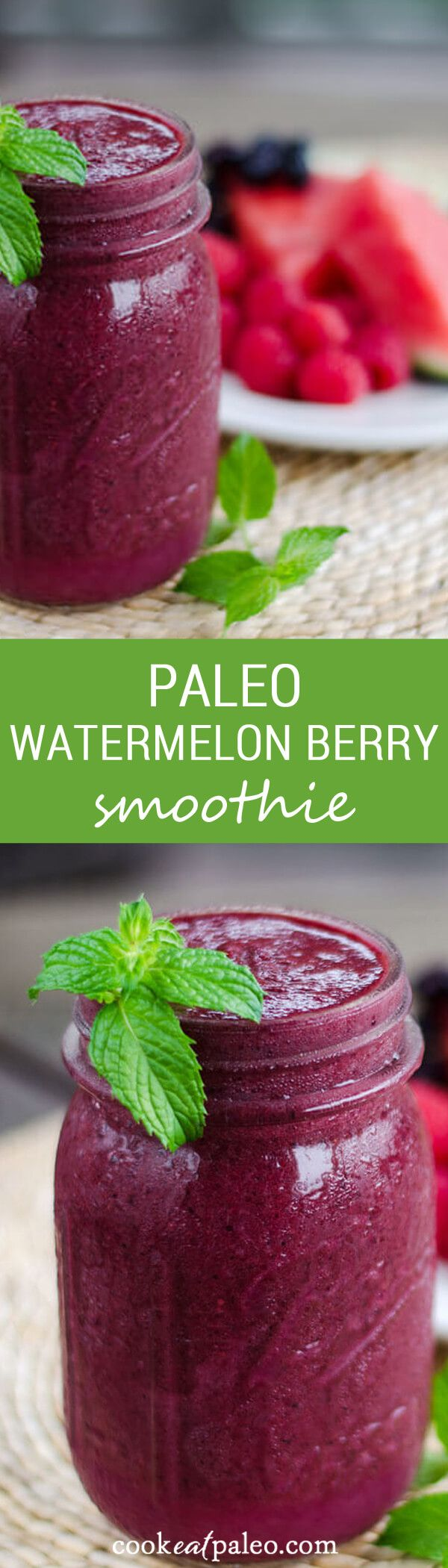 This paleo watermelon berry smoothie is light, refreshing and the perfect taste of summer. It's dairy-free, nut-free, coconut free, and refined sugar-free. ~ http://cookeatpaleo.com
