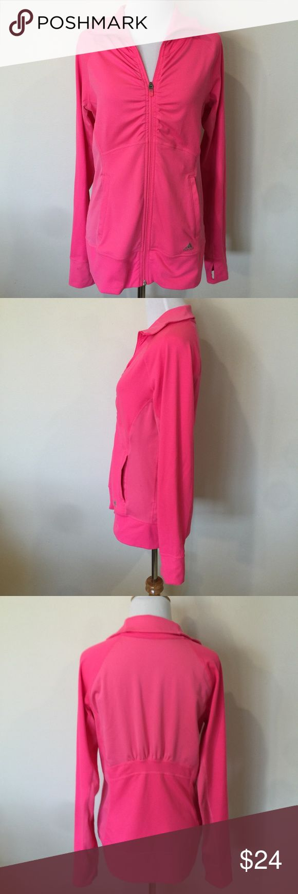 "Adidas Hot Pink Zip Up Sweatshirt Adidas Bright pink zip up. Size small. Some very mild piling on bodice. This jacket is so cute! Underarm measurement is 19 1/4"". Length is 24 3/4"". 92% polyester• 8% spandex. adidas Tops Sweatshirts & Hoodies"