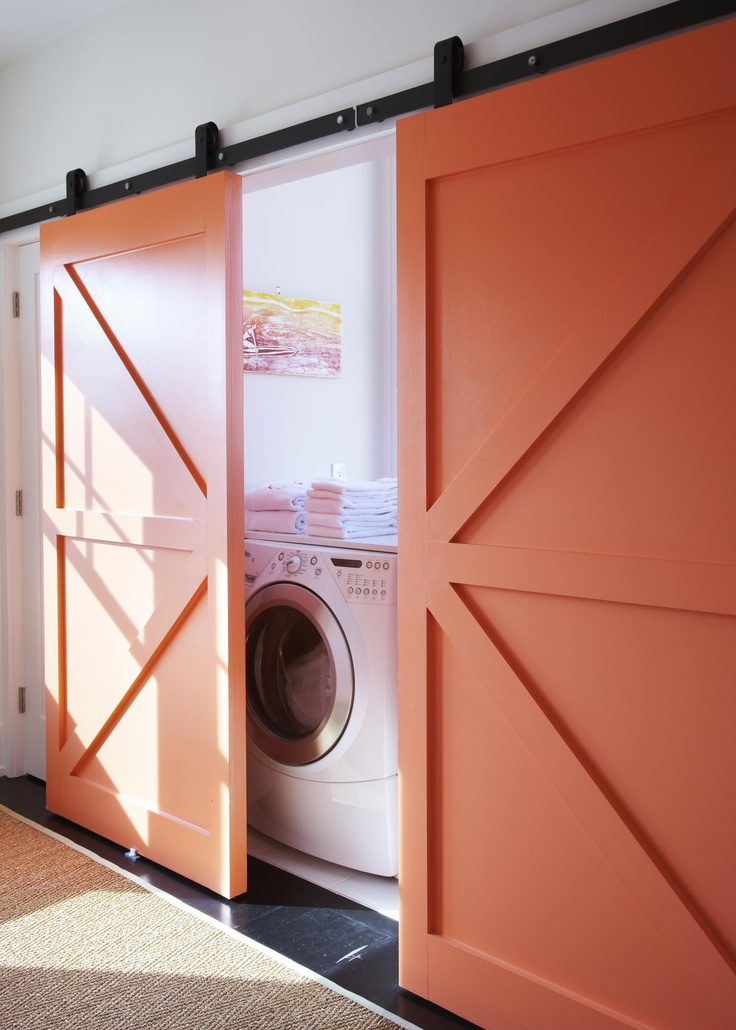 Hide The Washing Machine With Rolling Stable Doors Decor