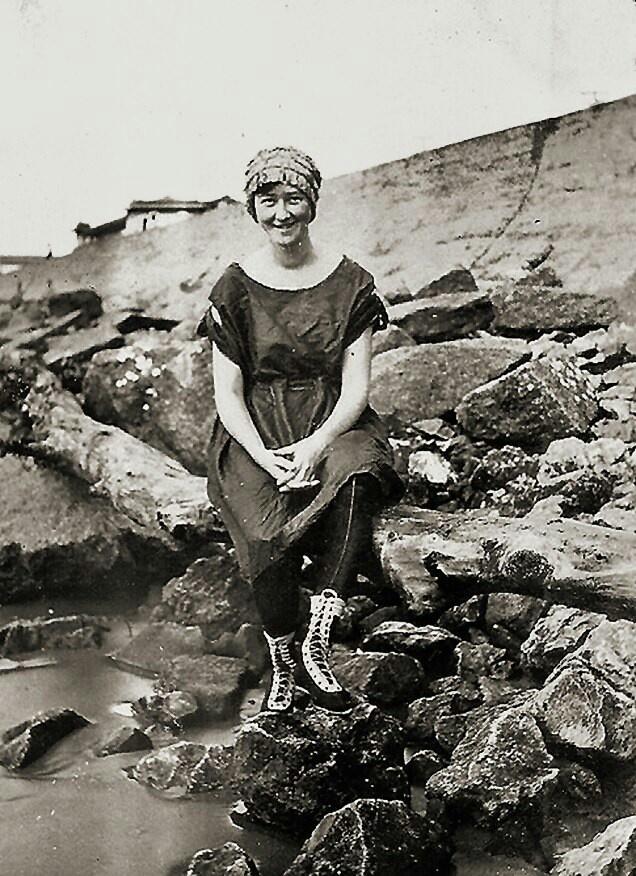 Taken in front of Galveston Sea wall 1919 survivor of 1900 hurricane