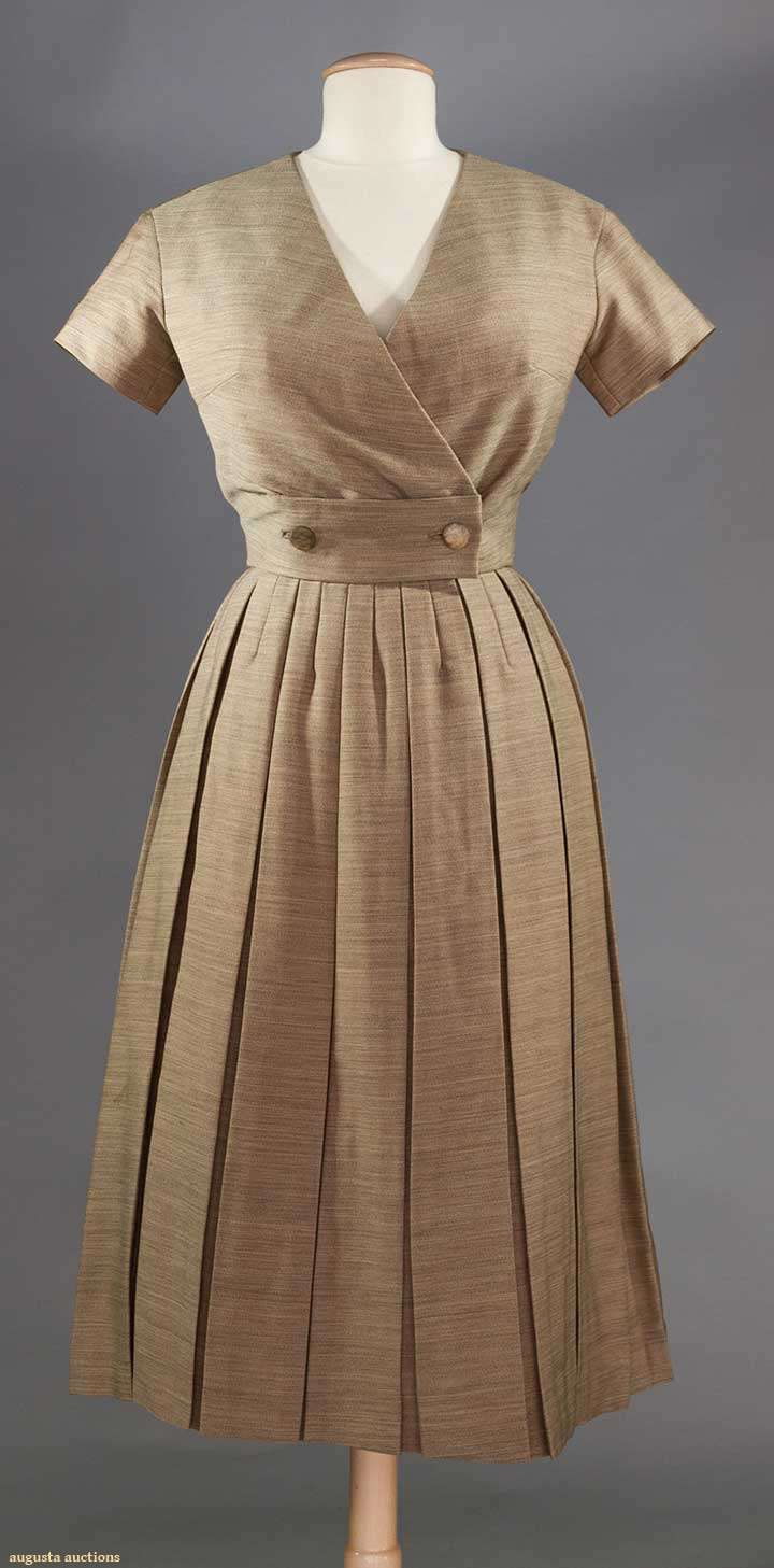 """DIOR COUTURE AFTERNOON DRESS, 1950-1960 2-piece dress of mottled tan & cream wool, label """"Christian Dior Paris"""" stamped """"05613"""", box pleated skirt w/ attached under bodice, separate short sleeve surplice top w/ 2 buttons to Waist"""
