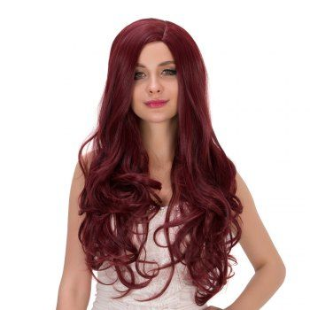 Long Side Parting Fluffy Wavy Heat Resistant Fiber Wig (DEEP RED) in Synthetic Wigs | DressLily.com