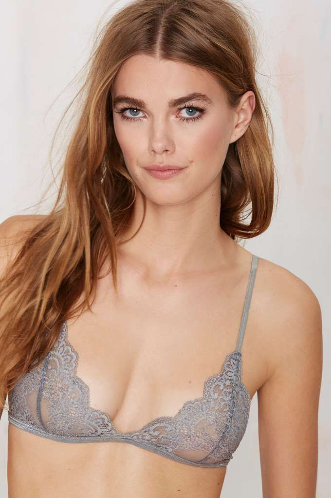 Kill it every time in this sheer gray lace bralette ...