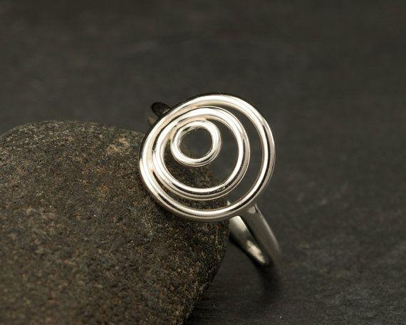 Sterling Silver Ring Silver Circle Ring Circle Trio by Artulia, $48.00