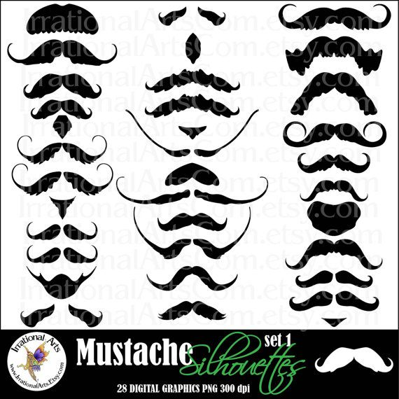 Mustache Love set 1 digital graphics with 28 by IrrationalArts, $6.95